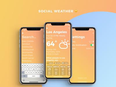 Social Weather App UI all screens weather app social weather emoji weather iphone x social minimal gradients weather emoji climacons app