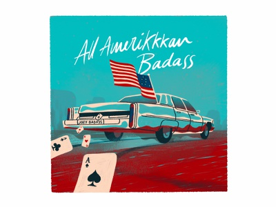 All Amerikkkan Badass turquoise album artwork usa flying retro car cards american flag america desert procreate illustration album covers album cover art album cover hiphop rap joey bada$$ joey badass all amerikkkan badass