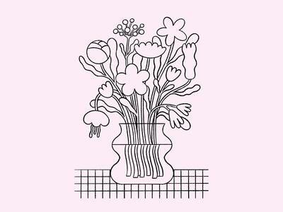 Bouquet modern bouquet vase line soft beige pink illustration flowers illustration flowers bouquet flowers