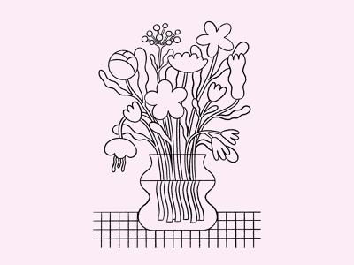 Bouquet modern bouquet vase line soft beige pink illustration flowers illustration flowers bouquet flowers