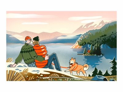 I know how I feel about you cuddle hug sunset love dog shiba wilderness british columbia island canada forest lake nature illustration couple
