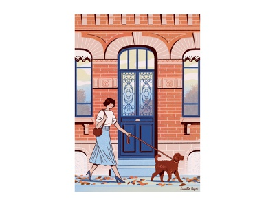 Violette house building bricks blue illustration leash autumn leaves autumn door street walk elegant girl woman dog poodle toulouse france neoclassical architecture
