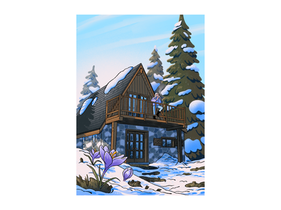 The Crocus House mountains house cozy season winter spring lilac purple crocus pine tree chalet illustration snow cabin