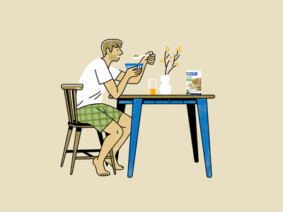 Healthy breakfast flakes cereals natural illustration scene bowl eating man table morning breakfast healthy