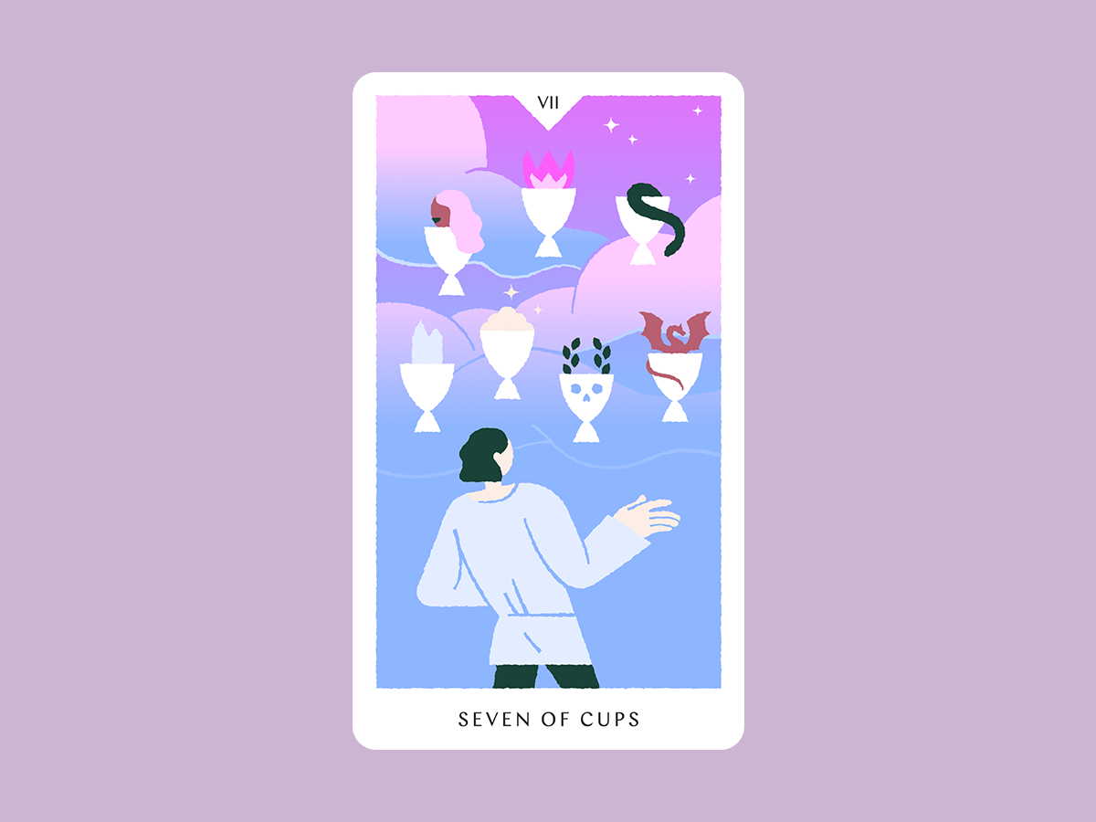 Seven of Cups dream gradient clouds sky cup stars blue pink card tarot art tarot illustration tarot deck tarot seven of cups