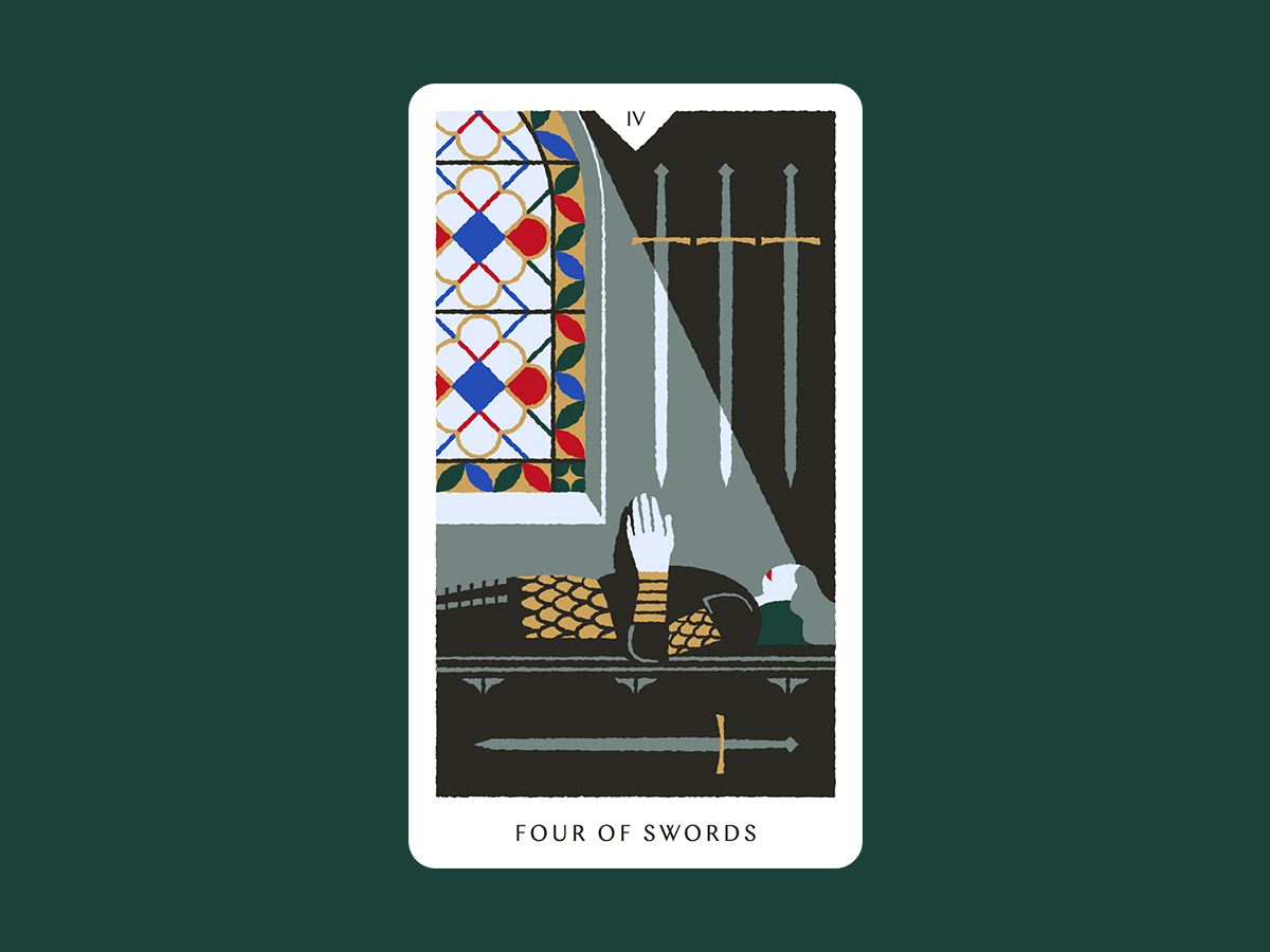 Four of Swords playing card knight armor stained glass sword card tarot cards illustration tarot card tarot illustration tarot deck tarot