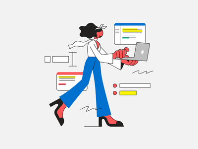 Write Freely ! primary colors writing writer word computer laptop business walk walking moving scarf illustration woman