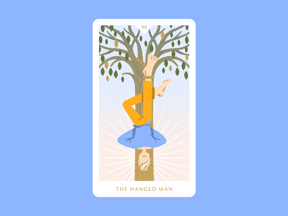 The Hanged Man playing card card sunshine tree illustration reversed man hanged the hanged man tarot deck tarot card tarot cards tarot