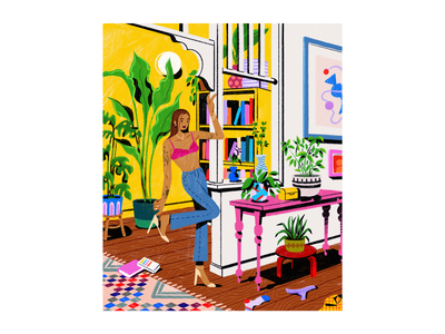 Leaving your living room undies illustration books plants messy flat appartment house interior rainbow pink yellow colors colorful procreate illustrations woman girl living room livingroom