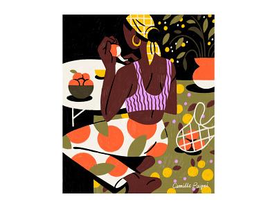 Tangerine green patterns scarf rug woman illustration woman portrait illustration woman orange mandarin clementine oranges tangerine