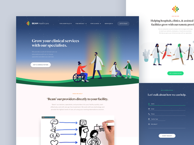 Beam Healthcare design branding website logo hills grass sky starfield rainbow illustration accessible wheelchair healthcare medical doctors stars website design