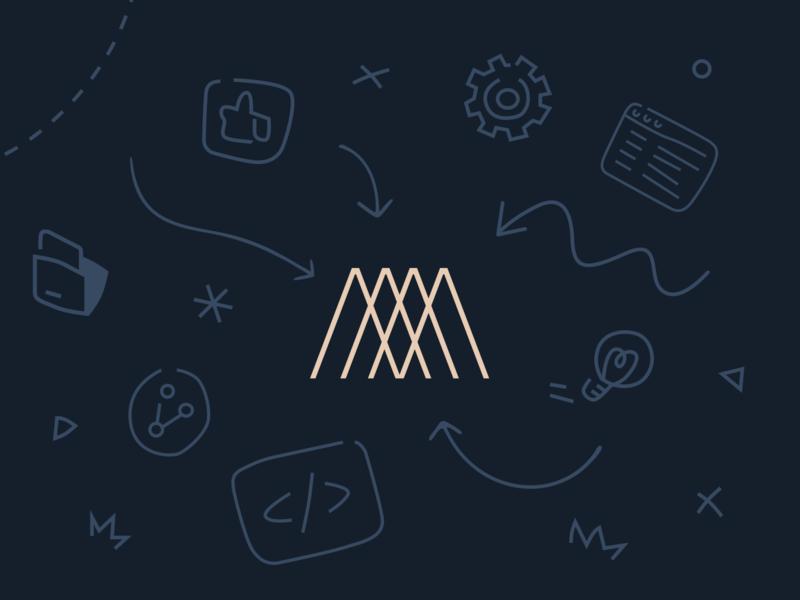 Monogram Brand Refresh illustration branding logo arrows folder code thumbs up light bulb gear playful illustrations