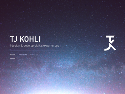 tjkohli.com 2 / teaser logo branding personal svg web page home navigation typography stars space parallax