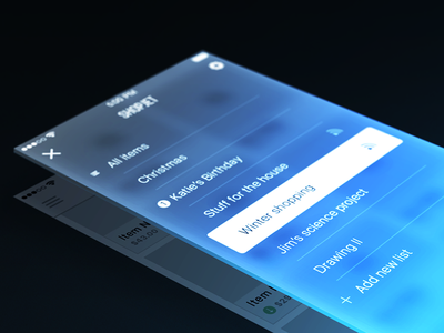 ShopJet / wireframes app ios iphone ux sketch glow plane shopping list ui
