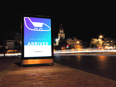 ShopJet Poster plane icon arrived cart your advertising ad marketing identity branding sign poster