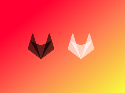 Project SQRL brand identity gradient orange polygon insect pest head squirrel fox logo