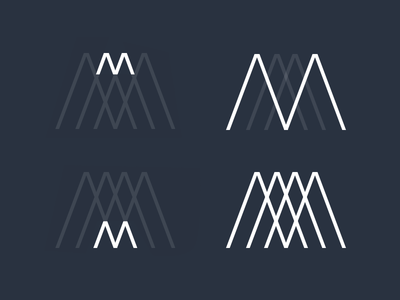 Monogram² monochrome intersecting lines symbol mark branding m identity logo