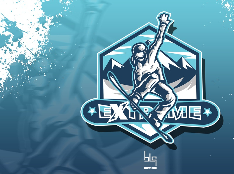 extreme sport logo extreme snowboard sport logo art illustration design graphic vector