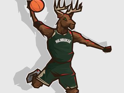 Bucks mascot nba graphic