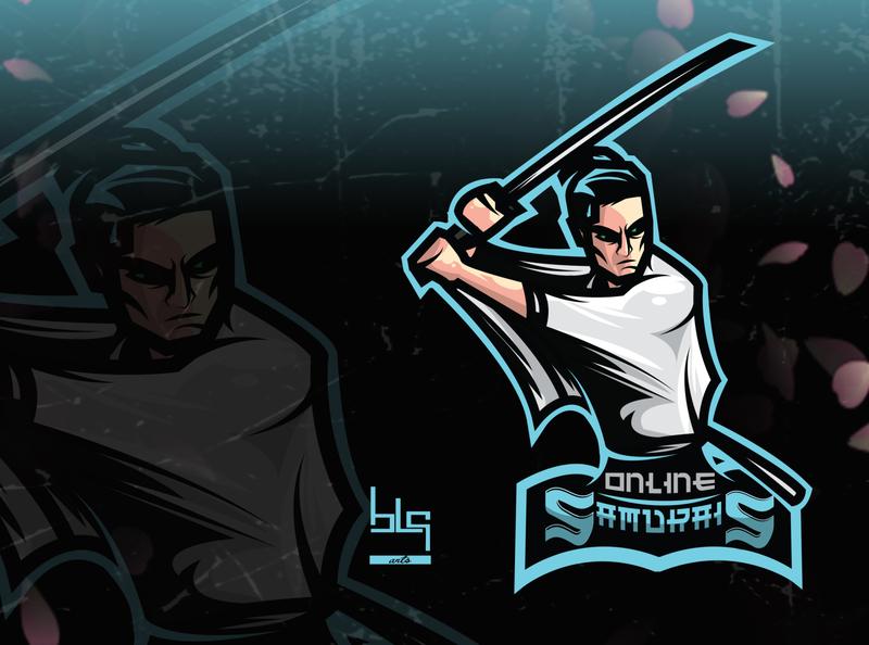Samurais logo art twitch logo samurai illustrator vector logo esports esport