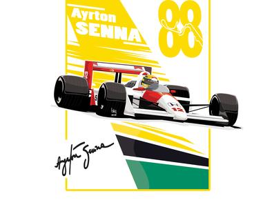 Ayrton Senna formula1 drawing illustration art design vector