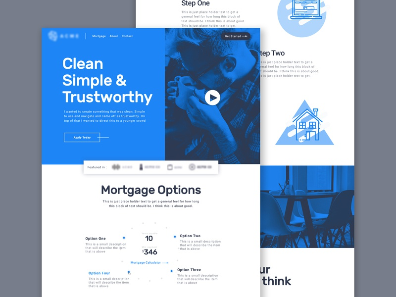 Bank Website Concept ui home page design clean landing page web design
