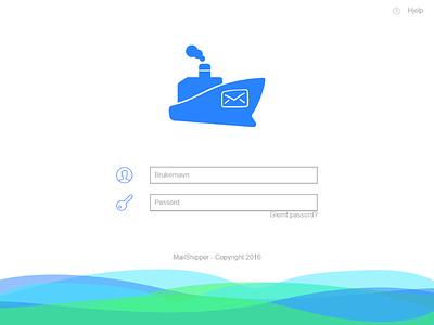 MailShipper - Login scren website web design flat light login login screen
