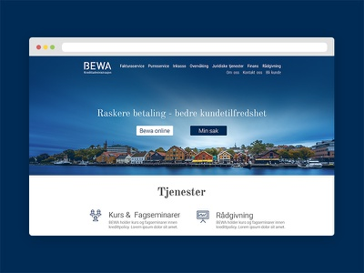 BEWA financial services front-page landing page web design website