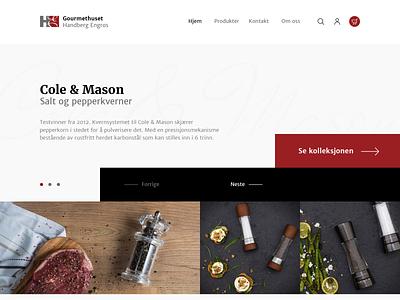 Gourmethuset knives kitchen supplies food gourmet website mockup
