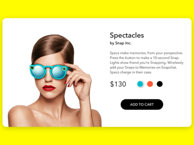 Daily UI - E-Commerce spectacles snapchat ecommerce dailyui