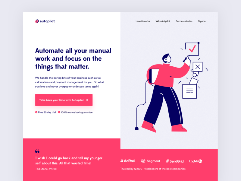 Autopilot SaaS Website Design landing page webdesign website design illustration header illustration header exploration header design saas landing page saas website saas design visual design homepage minimal marketing website growth conversion rate optimisation india website saas web design