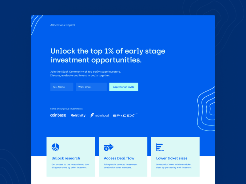 Allocations Capital Landing Page- Live! landing page landingpage website design webdesign webflow header exploration header design home page saas landing page saas design saas website homepage marketing website growth conversion rate optimisation ux india website saas web design