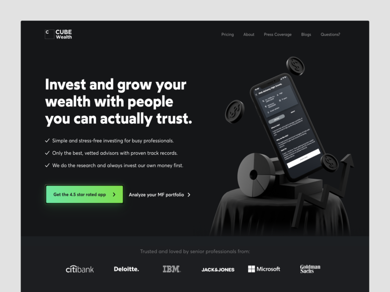 Cube Wealth- fintech product website design c4d 3d art landing page webflow webdesign website design fintech app fintech saas app saas landing page saas design visual design saas website homepage marketing website conversion rate optimisation india website saas web design