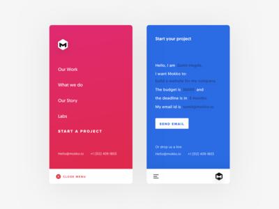 Mobile site menu