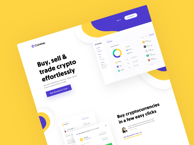 Coinklap — Crypto startup website design crypto homepage visual design cryptocurrency landing page front-end development web app startups marketing website marketing site growth conversion rate optimisation conversion rate cro web design saas website ux minimal ui