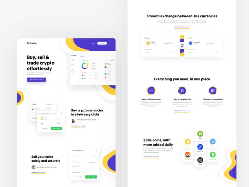 Crypto product website design