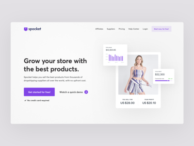 SaaS product website header