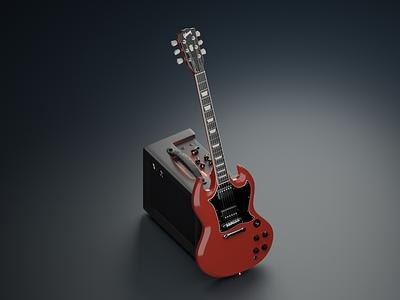 Gibson SG vs VOX Amp shadow electric guitar studio isometric art isometric high fidelity lowpoly blendercycles blender 3d blender 3d art 3d modeling red rock and roll music amp vox amp gibson sg gibson guitar