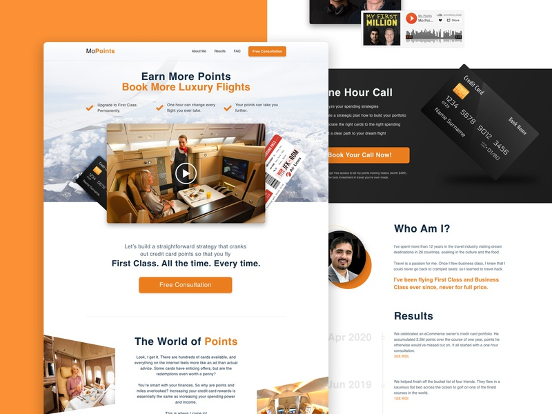 Credit Points character funnel clean website web design points philippines plane tickets creditcard