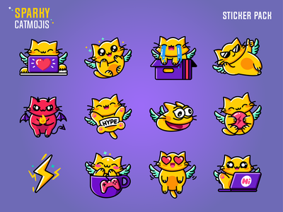Sparky Catmojis animal kitty smile bolt yellow web sticker design app design 2d character fantasy cute emoji sticker game wings cat animation gif