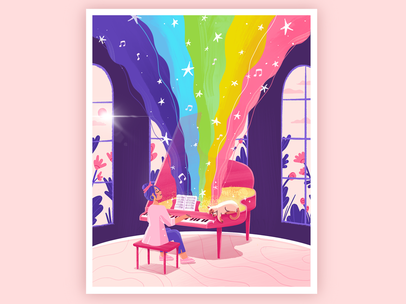 This Magic Moment🌈 flowers inspiration musician music love piano play rainbow wave stras room relax design happy cat flat girl illustration character 2d