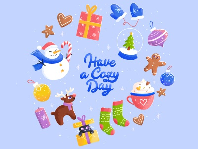 Have A Cozy Day⛄🎄 magic inspiration quote gingerbread deer present celebration xmas new year snowman cookie holidays winter snow cozy cute cat happy illustration character