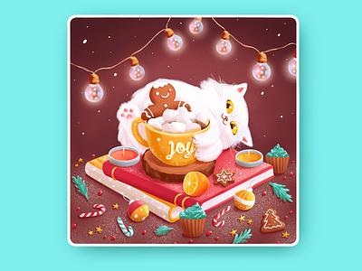 ❄️ Joy ☕ coffee inspiration lights hug books pancake candles gingerbread snow cozy warm kitty holidays winter 2d flat cat happy illustration character