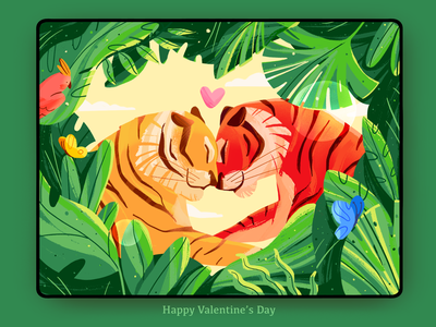 Love in Jungle🐯 heart day wildlife wild butterfly couple jungle leaves green environment forest love tiger nature happy character 2d illustration