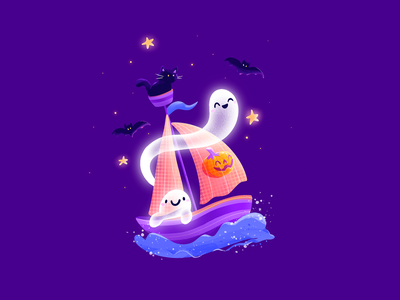 👻 Ghost Adventures ⛵ waves spooky sea procreate soul violet kitty cat boat adventure nft funny cute halloween ghost design flat 2d illustration character