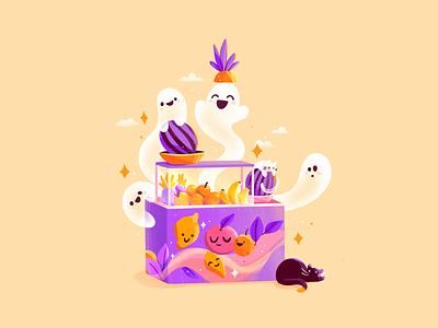 🍋 Fruity Ghost 👻 funny cute yellow fruits nft spooky procreate lemon soul kitty halloween sweet ghost cat cat ghost design flat 2d illustration character