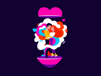 In love in love girl boy cloude heart contest love illustration