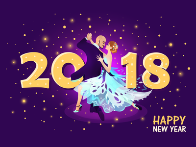 Happy New Year with Tango 2018 flat spots shine light violet dance dress illustration happy new year tango