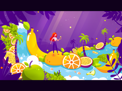 Island of Taste apple taste water waterfall light ingredients girl violet orange illustration fruits island