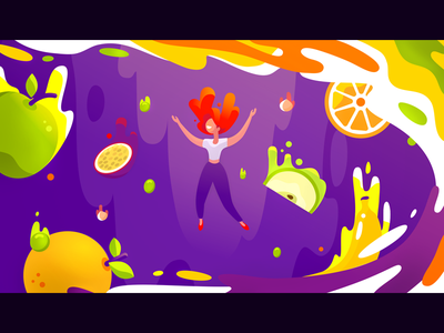 Island of Taste 2 falling apple splash liquid light ingredients girl violet orange illustration fruits happy